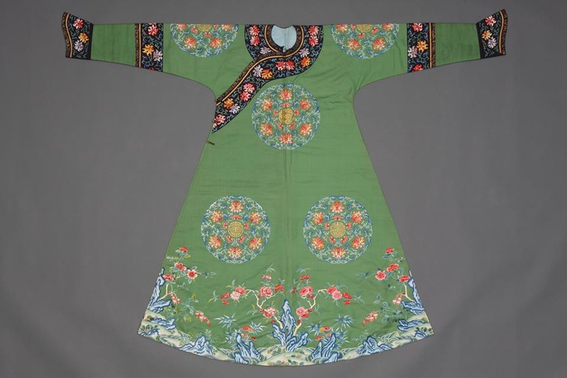 Festive robe with bats, lotuses, and the character for longevity.