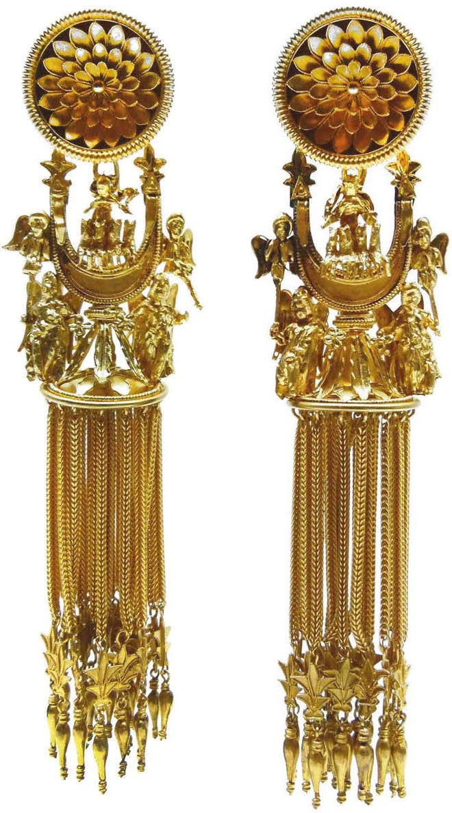 """Campana"" sun-chariot crescent earrings. ca. 1860."