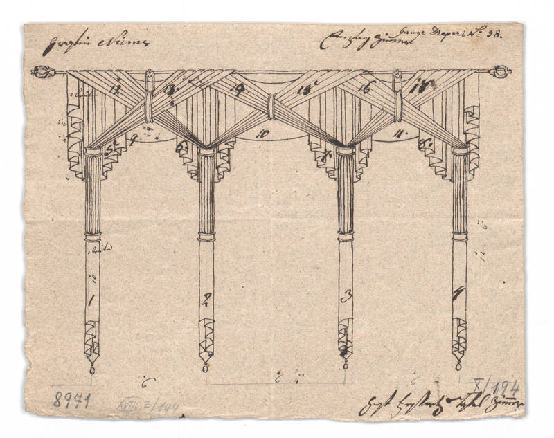"""Design for a window drapery."" 1814-1829."