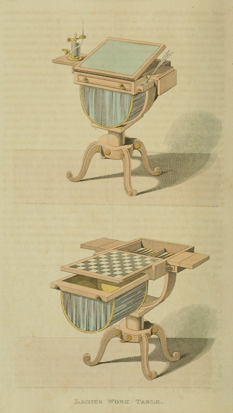 Ladies work/game table. Plate 35. 1811.