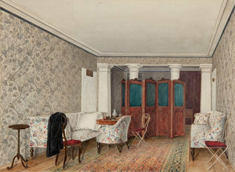 Living room in the estate of princes Shakhovskikh (White Kolp, Moscow province). 1850s