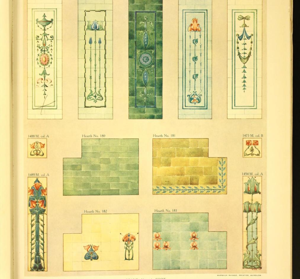 Design of wall tiling with antique enamels, with hand-raised decoration. Suitable for public buildings, banks, hotels, restaurants, offices, etc. Page 48. Plate 76.