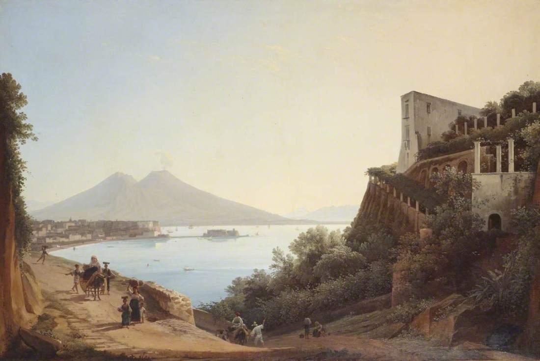 """View of Naples with Castel dell'Ovo and Mount Vesuvius seen from the Salita di San' Antonio."" 1819."