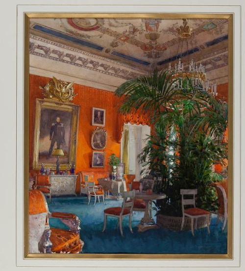 Red drawing room with a portrait of Emperor Alexander I,