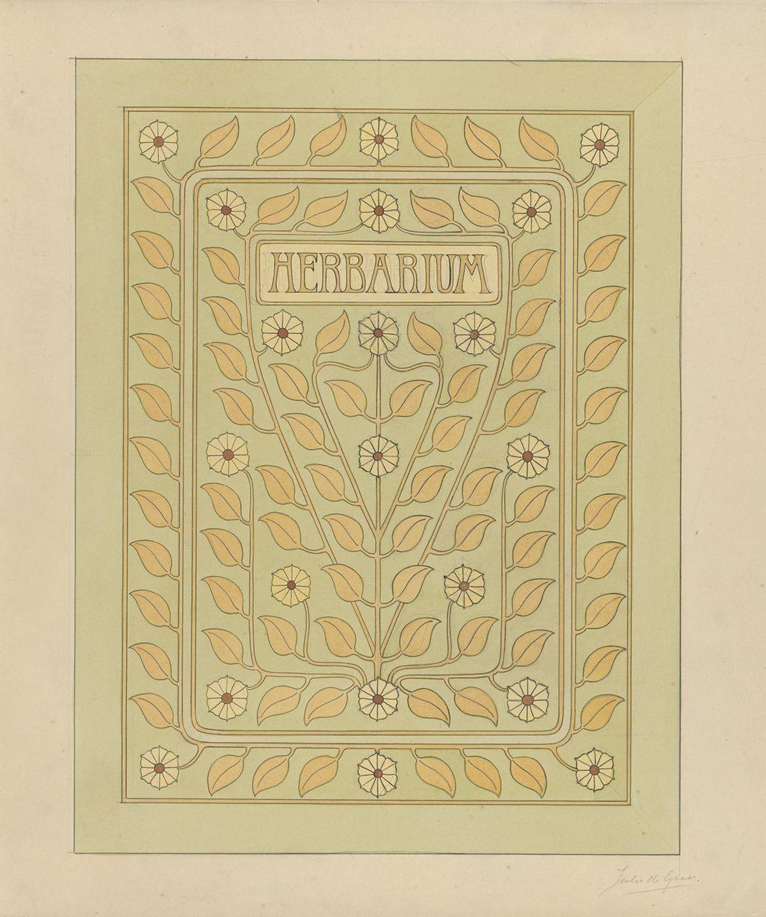 """""""Ontwerp voor een omslag voor een herbarium"""" (Design for a cover for a herbarium). 1887-1924."""