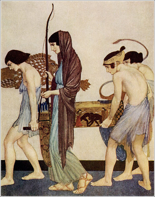 """She set forth to go to the hall to the  company of the proud wooers, with  the back-bent bow in her hands, and  the quiver for the arrows."" Illustration for an edition of the Odyssey that was first published in 1924."