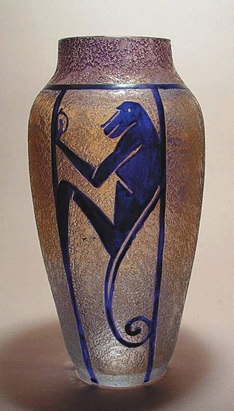 Vase with a monkey motif. Undated.