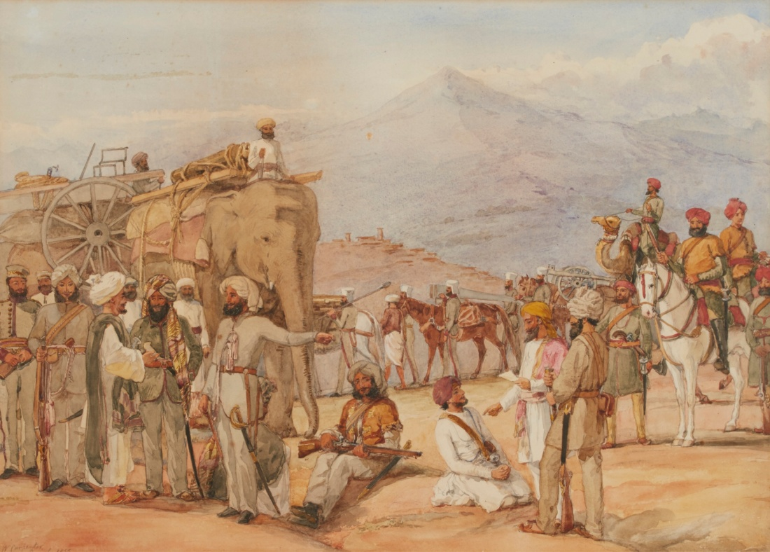 """Indian Soldiers on maneuvers in the Punjab."""