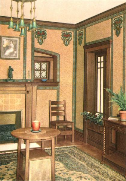 "Parlor interior. From Birge's ""Decorative Suggestions,"" published in 1914."