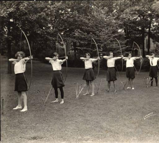 Archery class, Elmira College, Elmira, New York. 1928-1930.