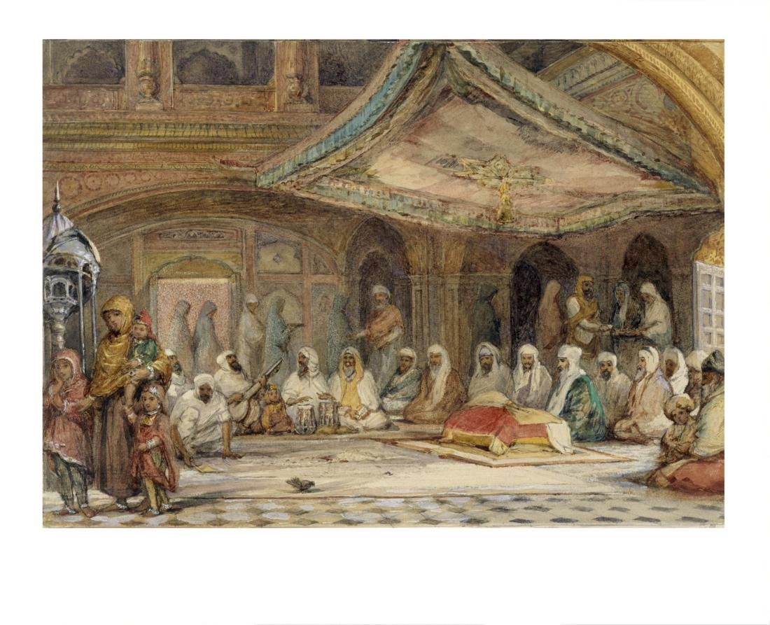 """Interior of the Golden Temple, Amritsar."" Probably painted in February, 1854."