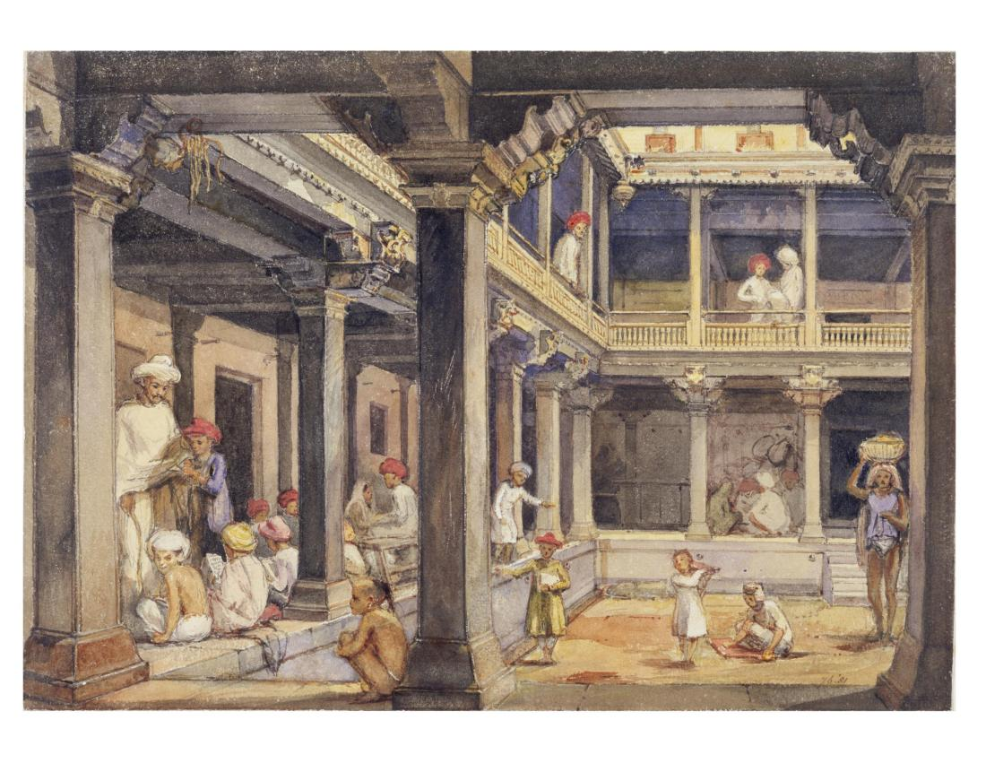 """Courtyard of a house in Pune."" 1850."
