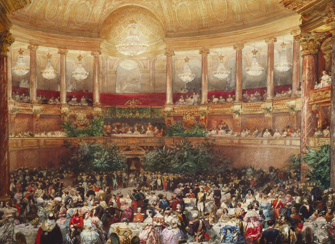 """The supper in the Salle de Spectacle, Versailles, 25 August 1855."" 1855."
