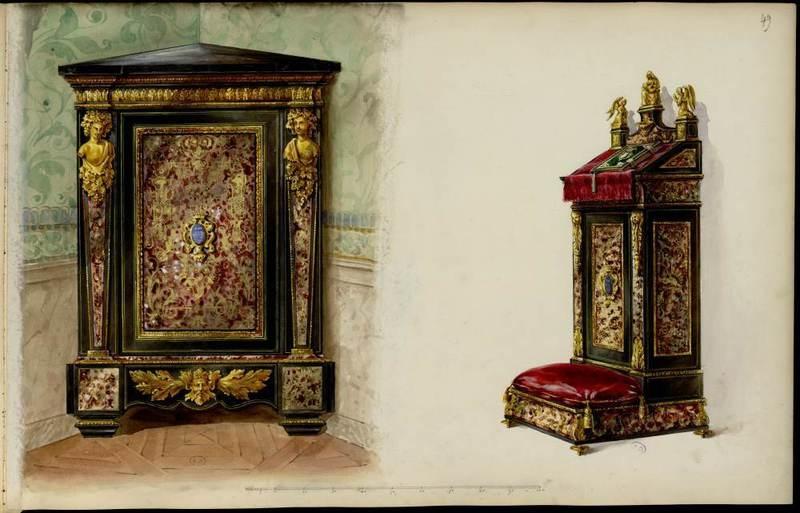 """""""Corner cabinet/Encoignure dans le genre Boulle."""" 1852-1870."""