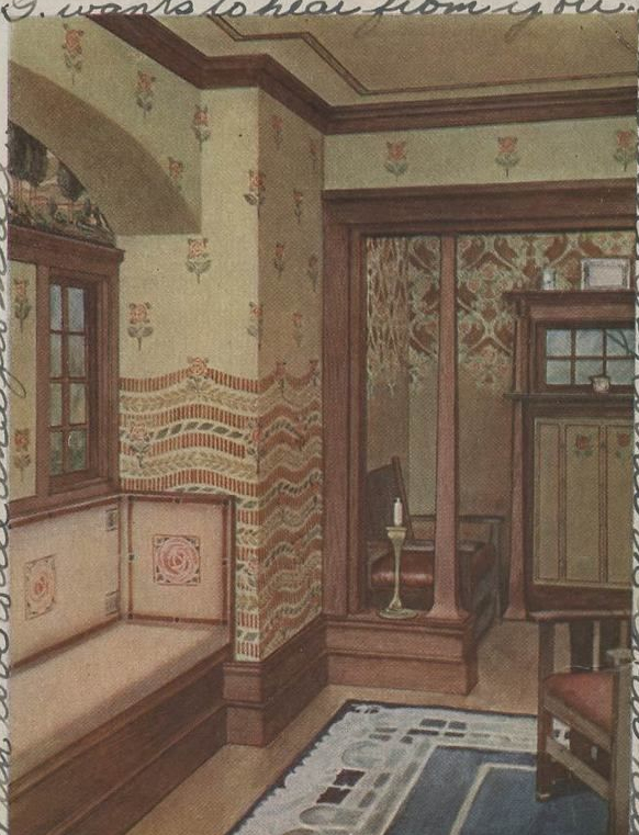 Interior with floral wallpaper. 1906.