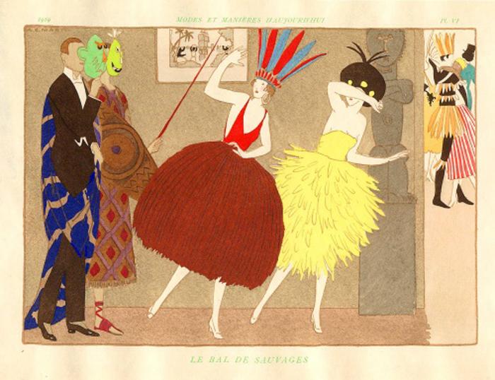 """""""Le Bal de Sauvages"""" from Modes et Manières d'aujourd'hui. Plate 17."""