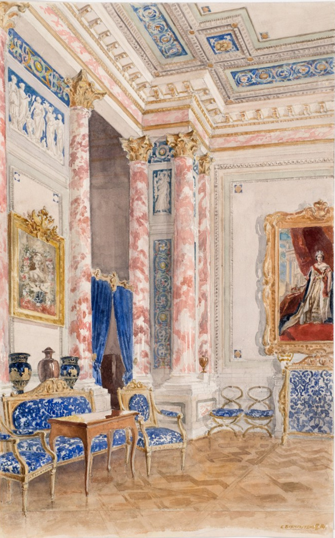 Bedroom of Empress Marie Feodorovna, English Palace, Peterhof. 1914. Watercolor. Eugene Baumgarten, artist.