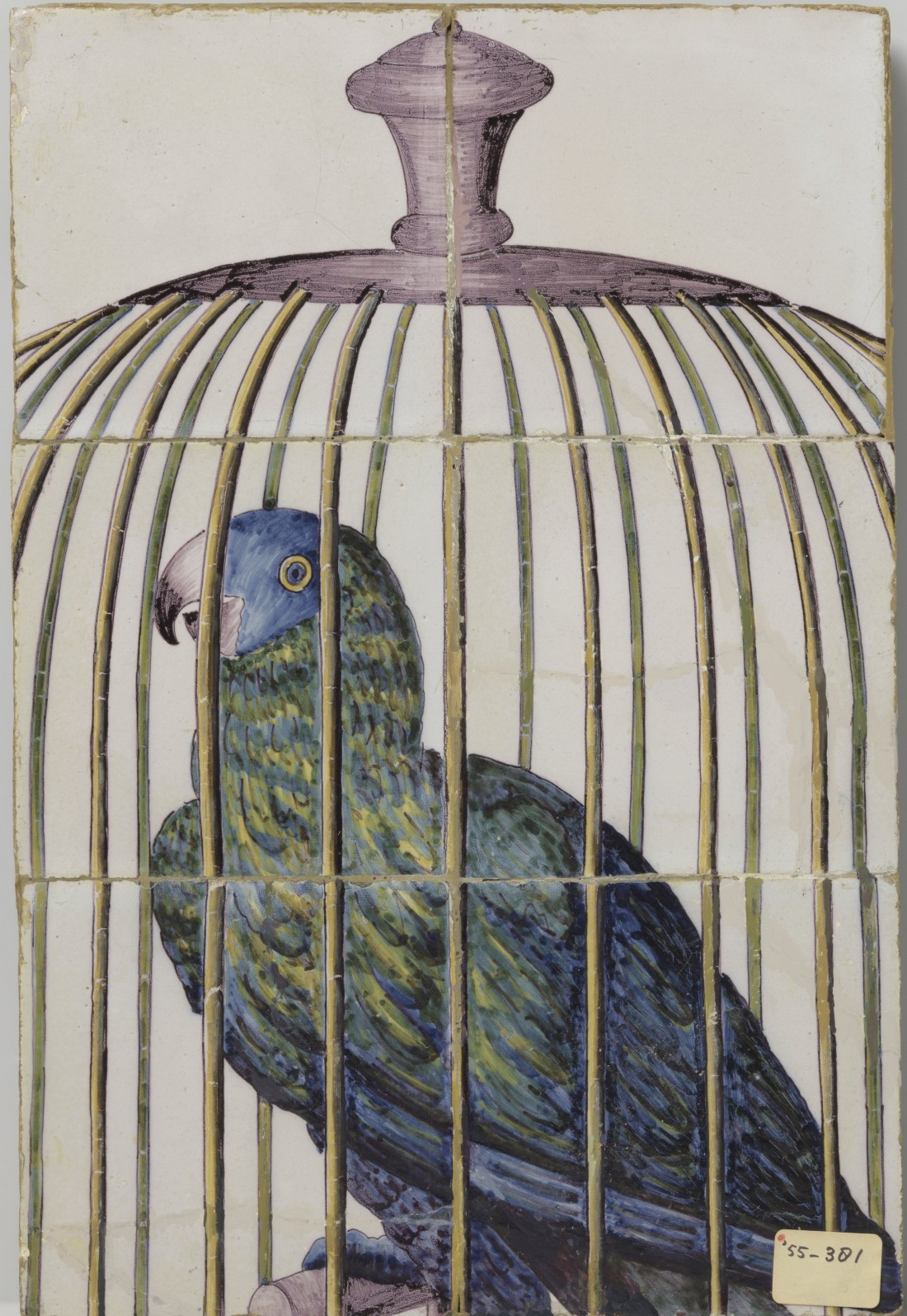 Tile tableau with six tiles showing a multicolored parrot in a cage.