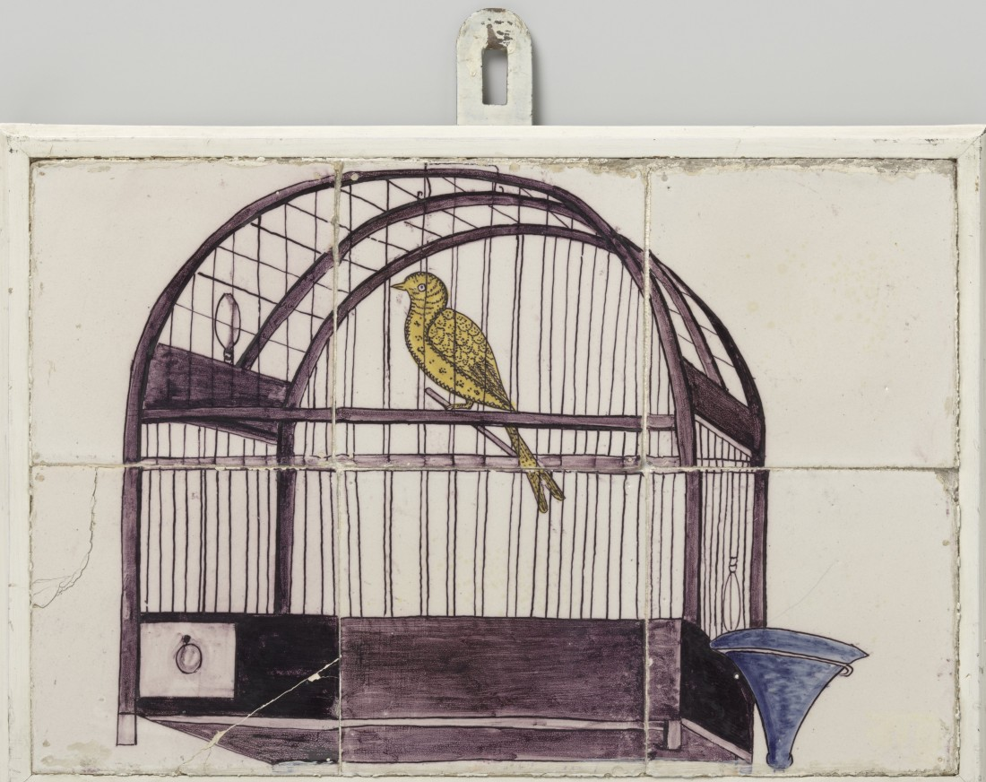 Tile panel or tableau,  painted with a representation of a bird in a bird cage. ca. 1750-1800.