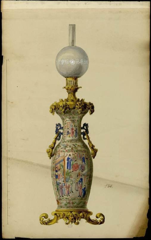 """""""Vase monté en lampe."""" 1852-1870."""