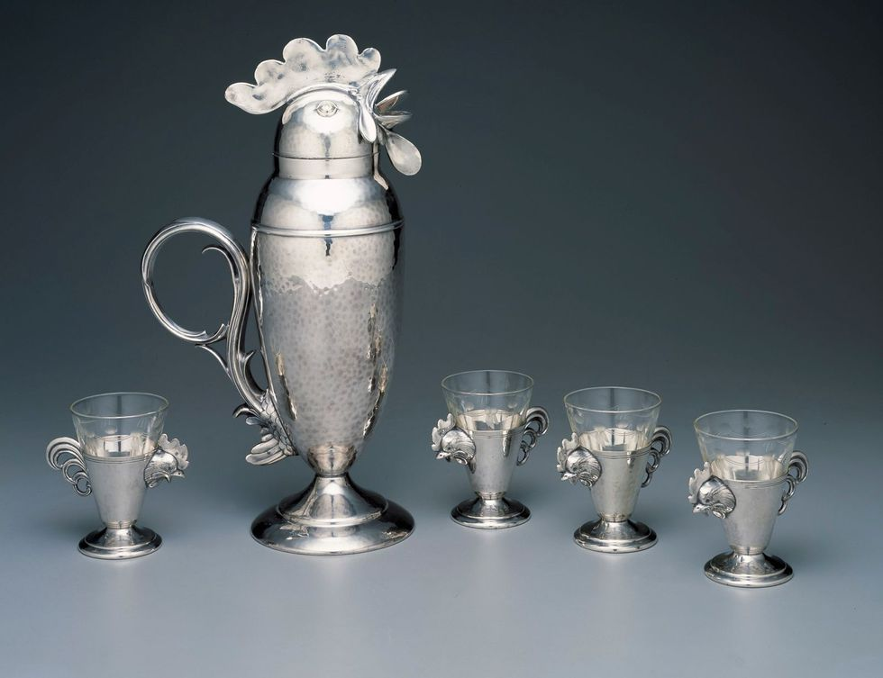 Rooster cocktail shaker and cups. ca. 1928.
