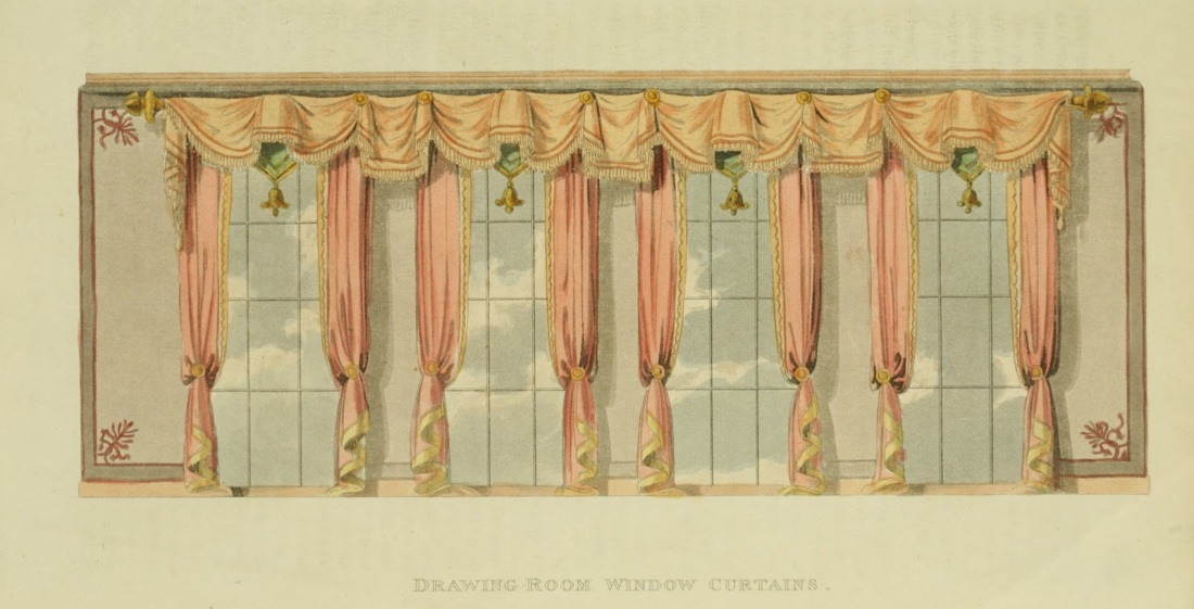 """Drawing Room Window Curtains."" Plate 32."