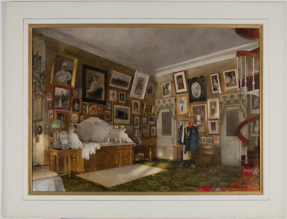 """""""Dressing room of Grand Duke Sergei,"""" from the album """"Views of the Church, Residential and Residence of Grand Duke Sergei and Grand Duchess Ella, Moscow."""" 1902."""
