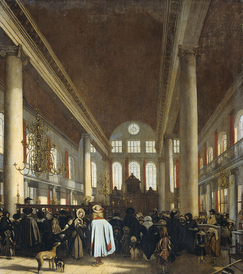 """Interior of the Portuguese synagogue in Amsterdam."" ca. 1680."