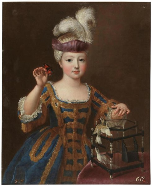 Girl with a bird cage. ca. 1712.