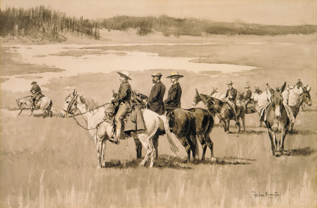"""On the Head-Waters--Burgess Finding a Ford.""  ca. 1893."