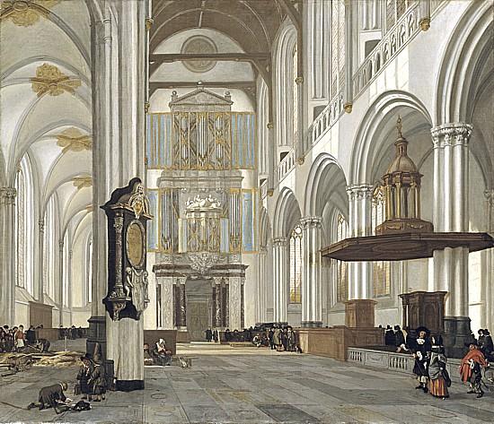 """Interior of the Nieuwe Kerk, Amsterdam."" 1657."