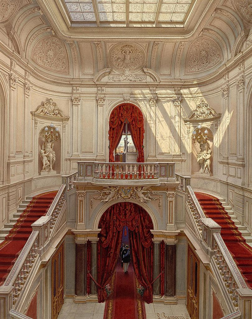 Main staircase, Mansion of Baron Stieglitz. 1871. Watercolor.