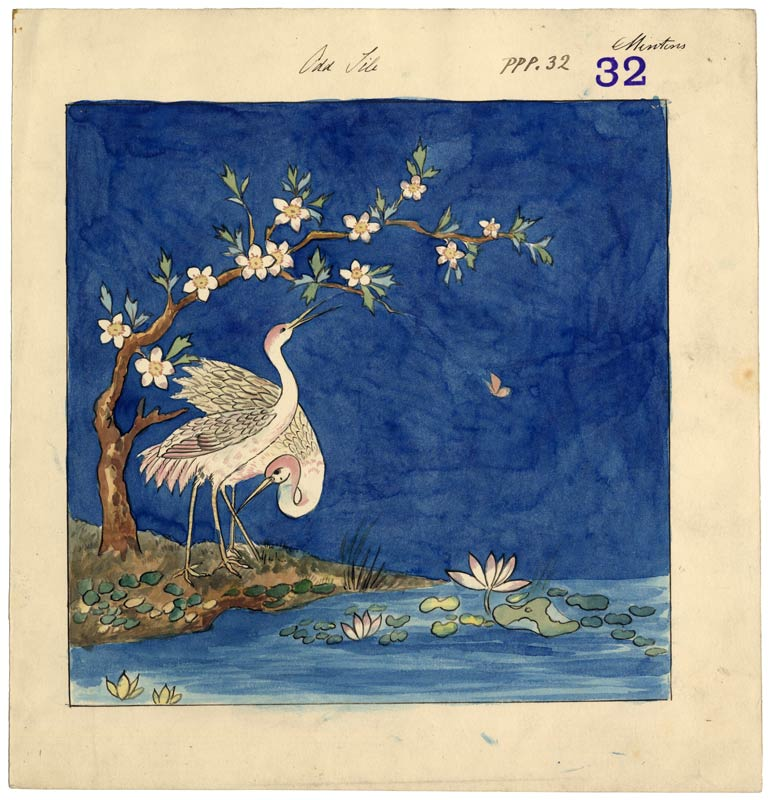 Birds and waterlilies. Stamped 32. Undated.