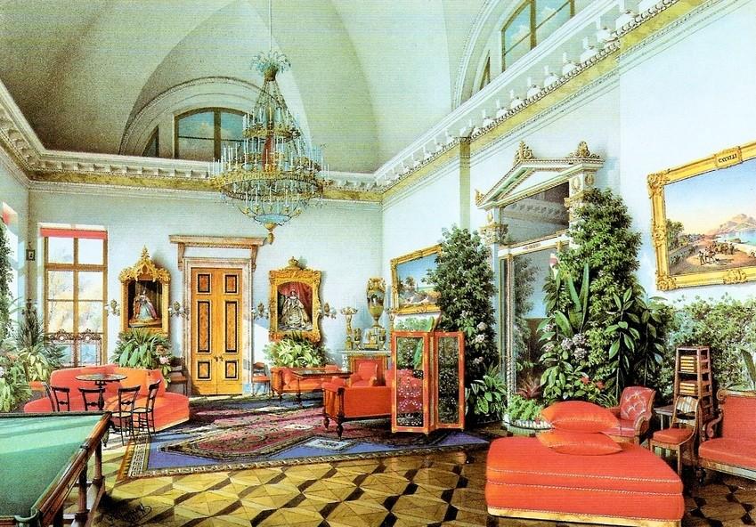 Billiard room, Alexander Palace, Tsarkoe Selo. 1854.e Selo.