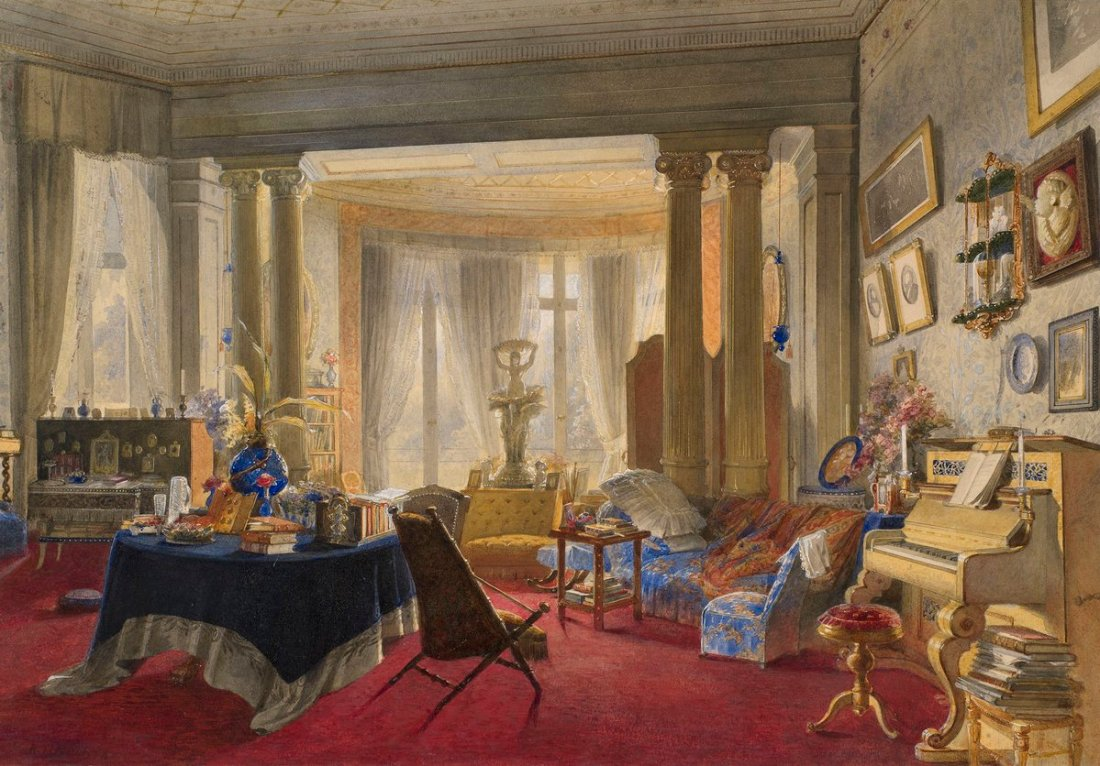 Darmstadt, the Neues Palais: the sitting-room of the Grand Duchess of Hesse.  1878.