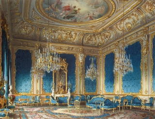 The Blue Drawing-Room, mansion of Baron A. L. Stieglitz. 1870. Luigi Premazzi, painter (1814-1891).