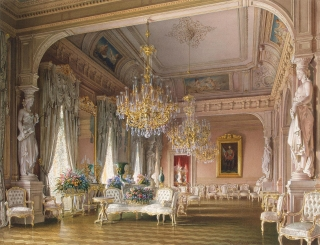 The White Drawing Room, mansion of Baron A. L. Stieglitz. 1870. Luigi Premazzi, painter