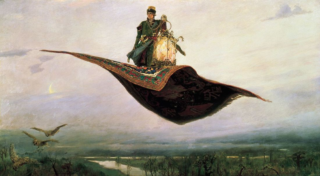 """The Flying Carpet, a depiction of the hero of Russian folklore, Ivan Tsarevich."" 1880."