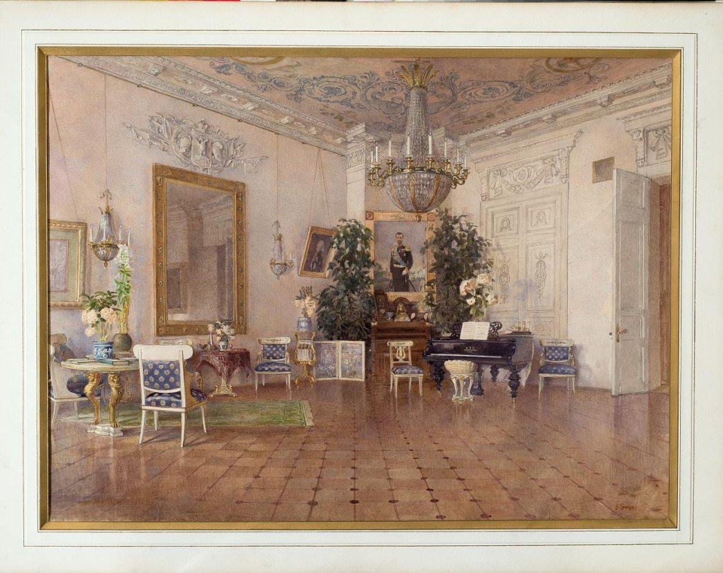 """""""White drawing room with a portrait of Emperor Nicholas II,"""" from the album """"Views of the Church, Residential and Residence of Grand Duke Sergei and Grand Duchess Ella, Moscow."""" Early 19th c."""