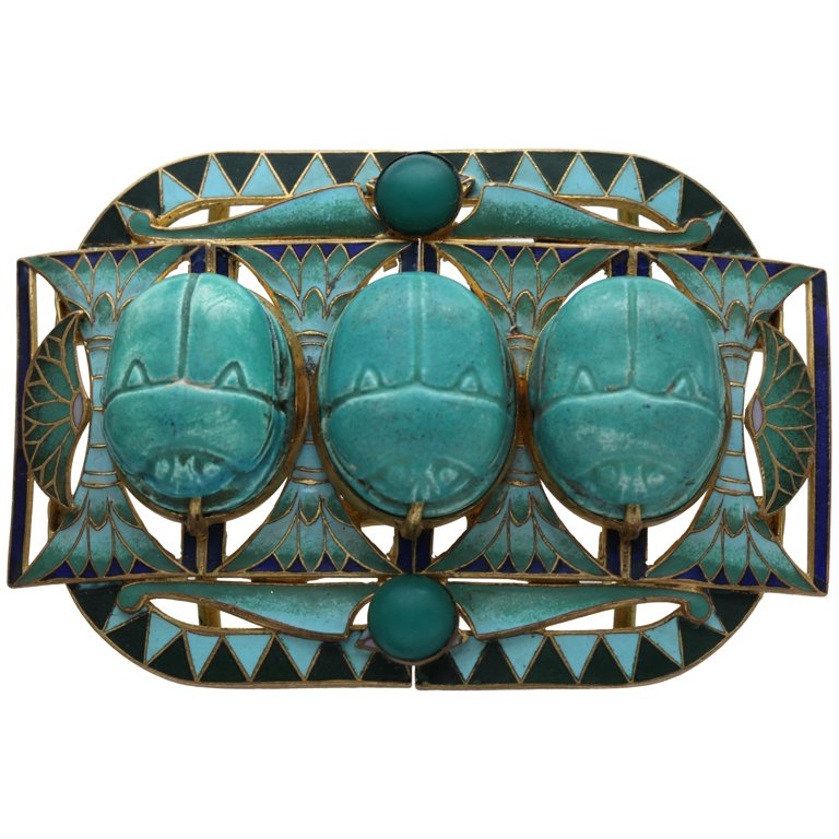 Egyptian revival belt buckle with scarabs.  ca. 1905.