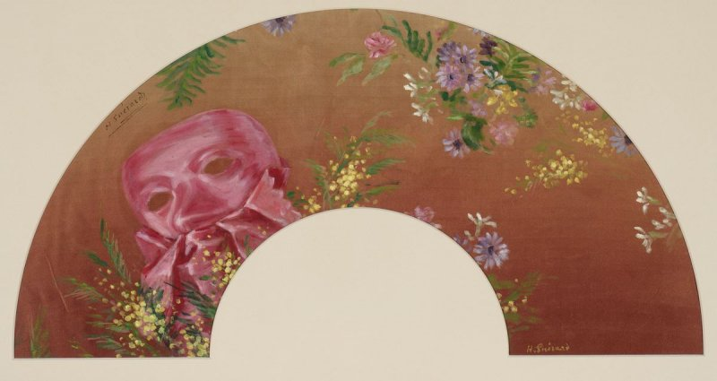 """Mask and Flowers."" ca. 1890."