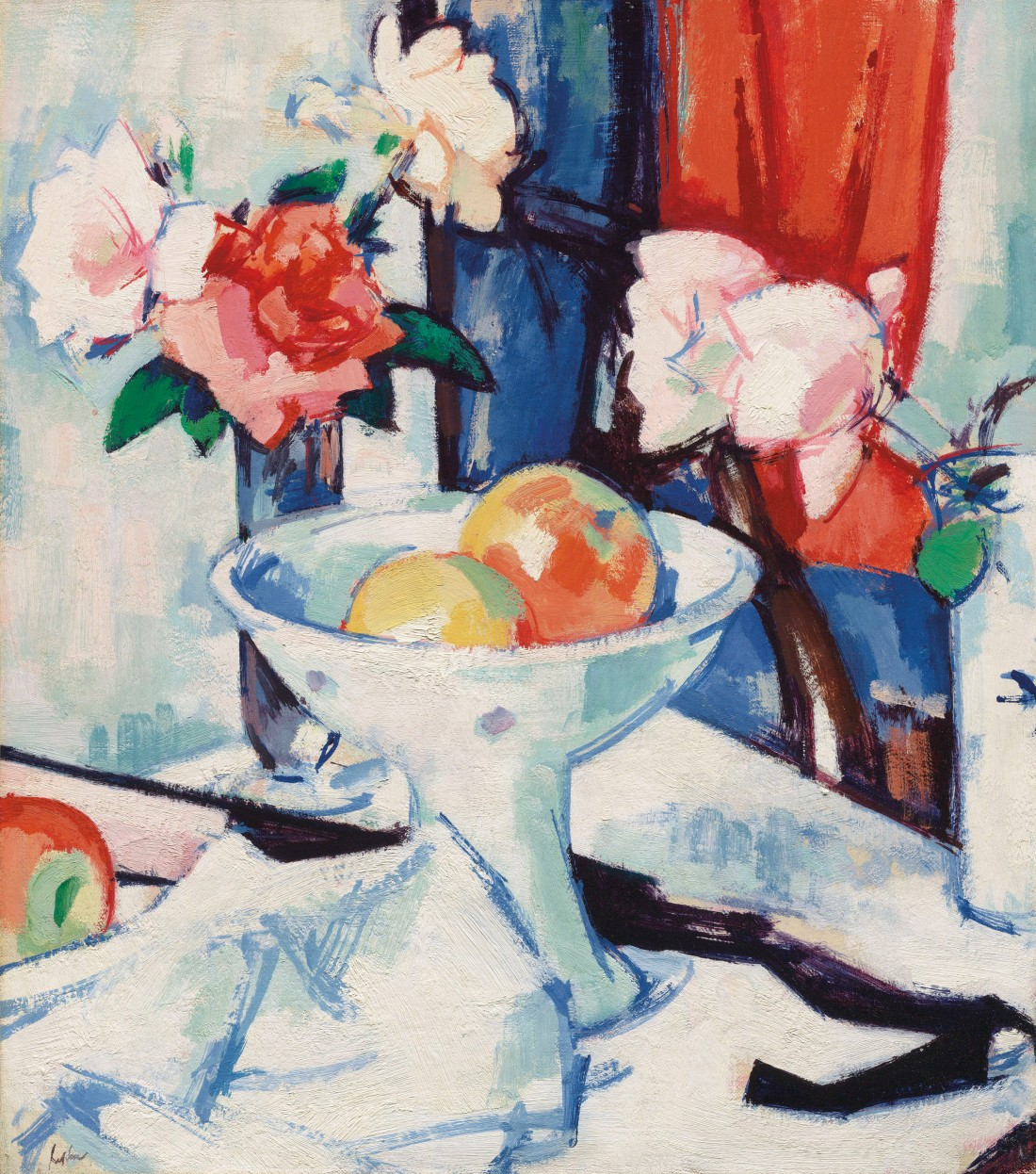 """Still Life of Roses and Apples."" Early 1920's."