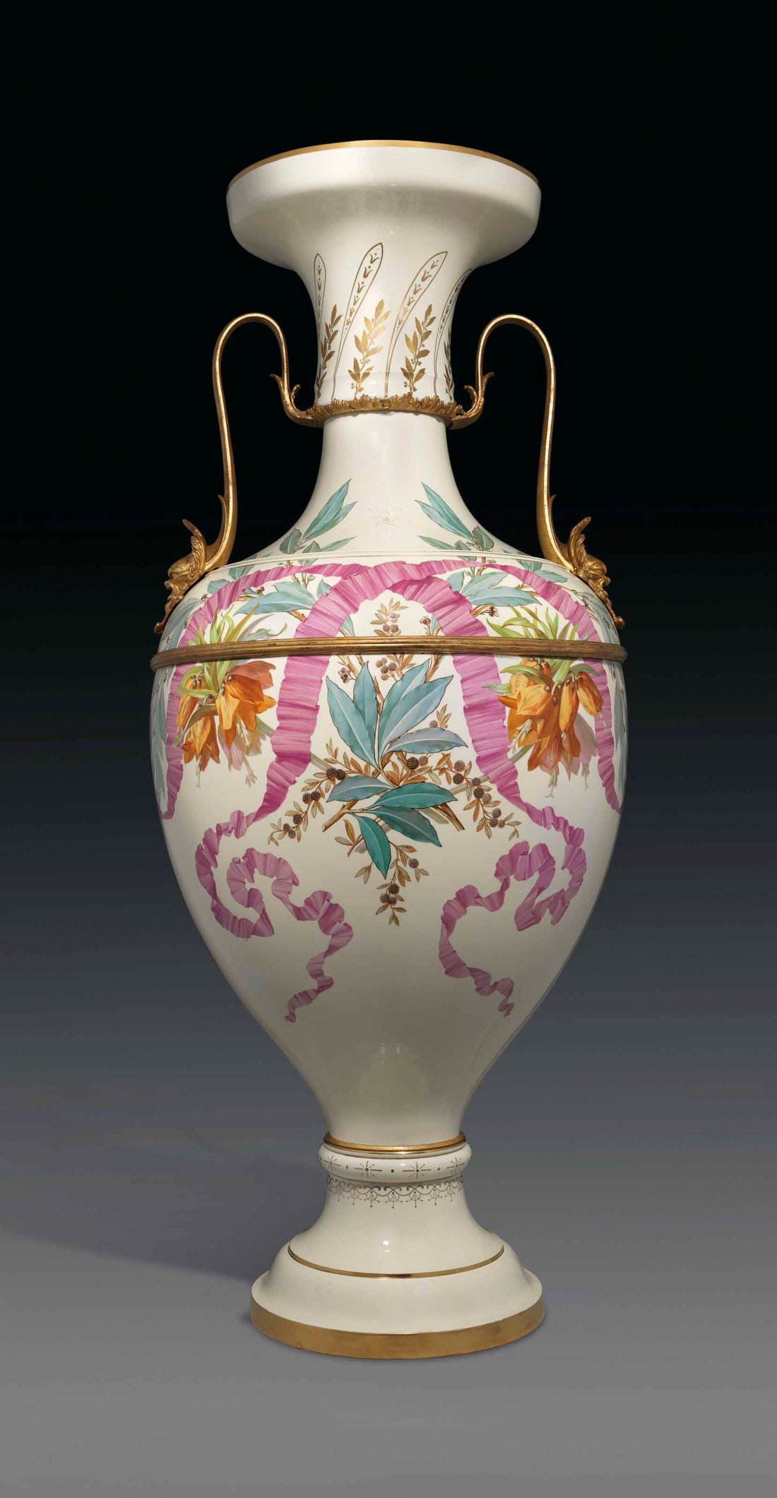 Monumental pale yellow ground vase.  ca. 1858-1863.