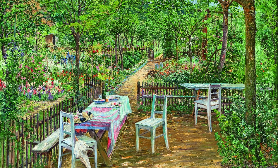 """Summer in the Garden, Znaim."" 1893."