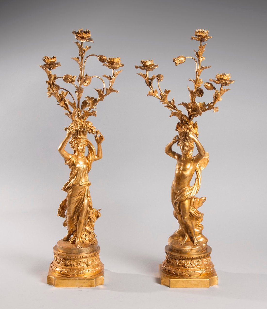 """Candélabres """"aux vestales."""" Louis XVI."""