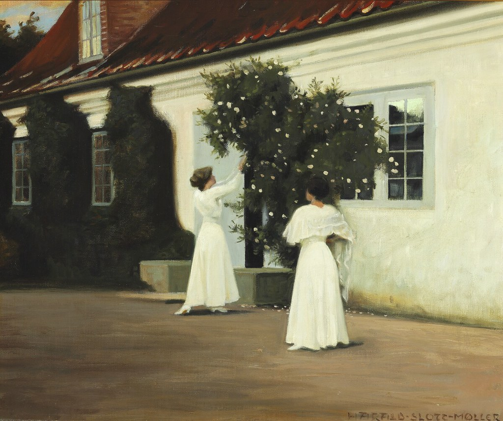 """Two young girls in long white dresses picking roses in the garden."" Study for the painting ""Roses."" No date."