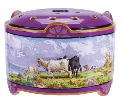 Majolica pot pourri pot with a hand painted summer scene of grazing cattle. ca. 1860.