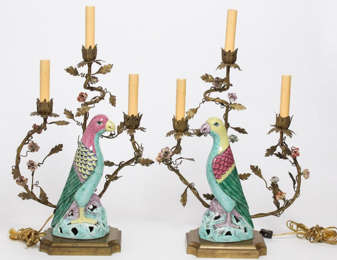 Candlesticks with porcelain parrots. 19th c.