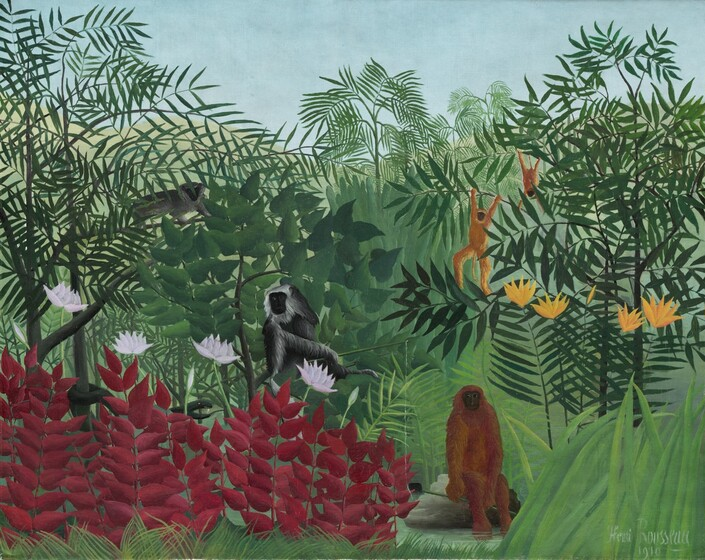 """""""Tropical forest with Monkeys."""" 1910. Oil on canvas."""