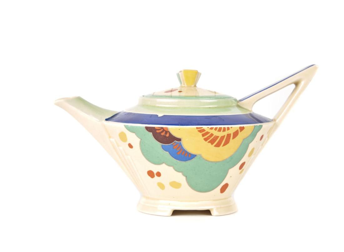 "Hand painted teapot in the ""Gaylee"" D5305 pattern. Art Deco. ca. 1930's."